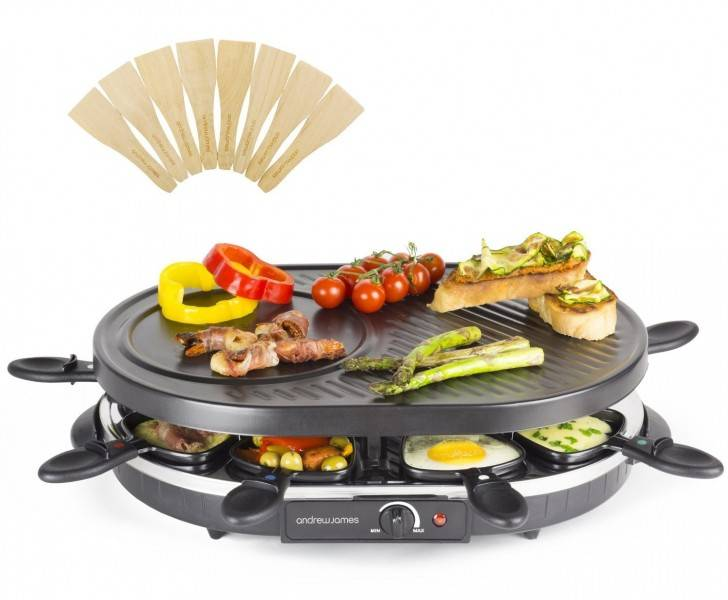 Gratar electric Andrew James Traditional Raclette  AJ000029, Atasament Clatite
